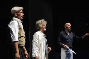 Paolo Migone con il professor Soru (alias Arturo di Tullio) e Max Garbarino